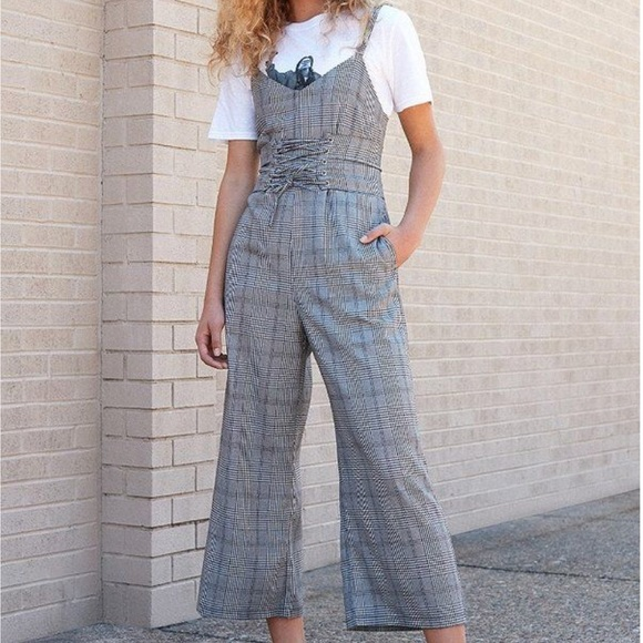 Urban Outfitters Plaid Corset Jumpsuit